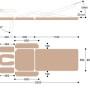 Массажный стол c двумя электроприводами X203, размеры